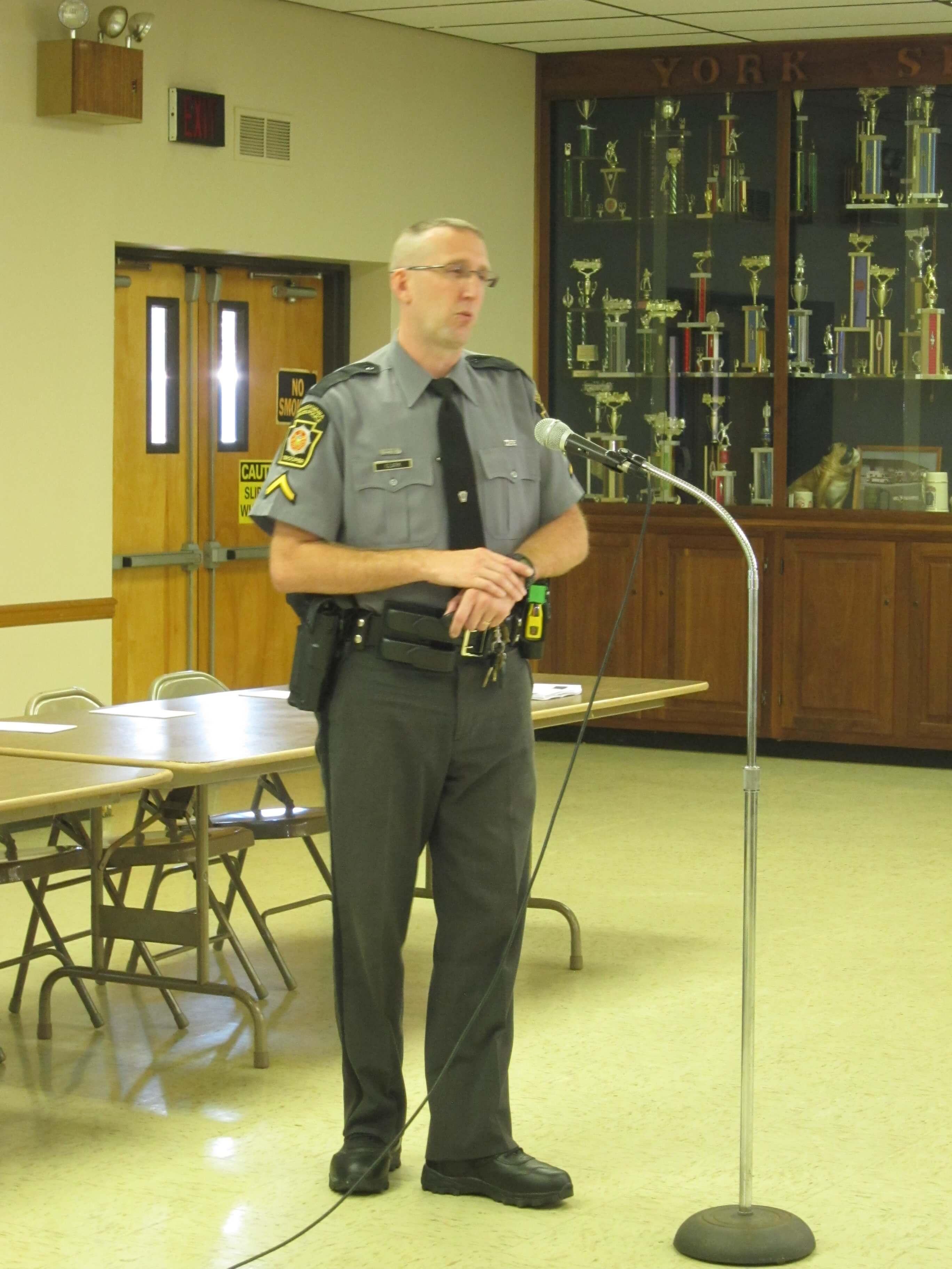 Trooper Clark Addresses Group